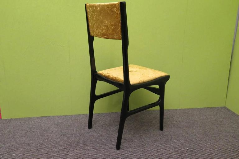Velvet Set of Six Chairs by Carlo de Carli For Sale