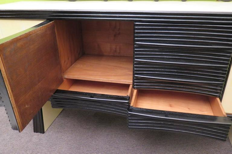 Wood Pier Luigi Colli 1950 Black and White Itali Sideboards  For Sale