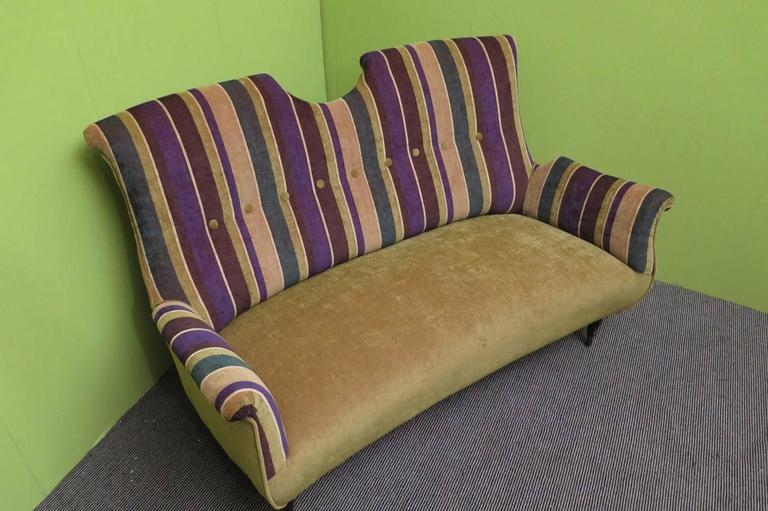 Mid-Century Modern 1950 Velvet Bicolored Italian Mid-Century Sofa For Sale