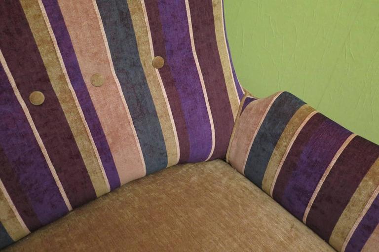 1950 Velvet Bicolored Italian Mid-Century Sofa For Sale 3