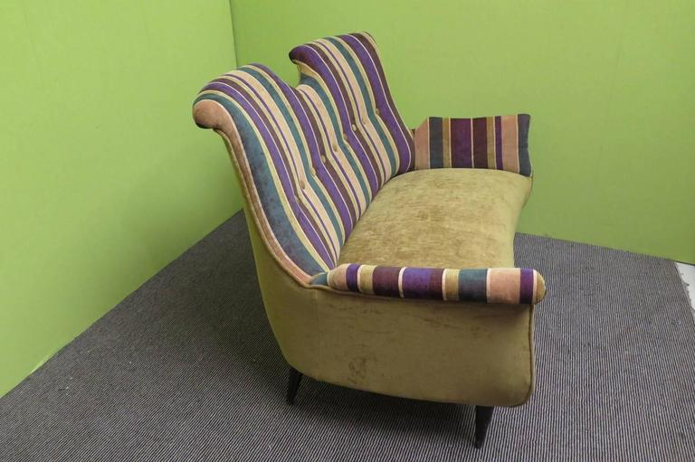 Mid-20th Century 1950 Velvet Bicolored Italian Mid-Century Sofa For Sale