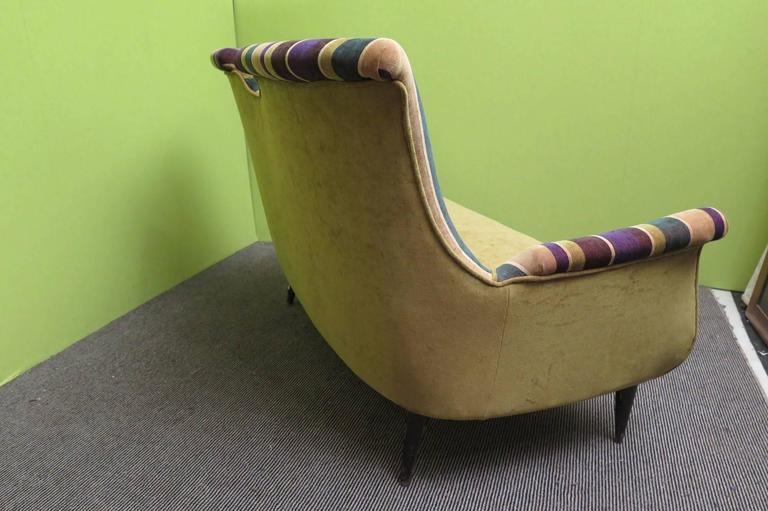 1950 Velvet Bicolored Italian Mid-Century Sofa For Sale 1