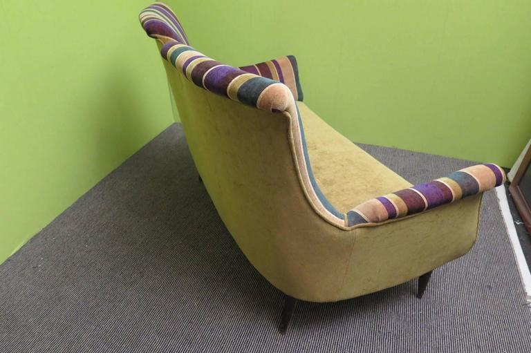 1950 Velvet Bicolored Italian Mid-Century Sofa For Sale 2