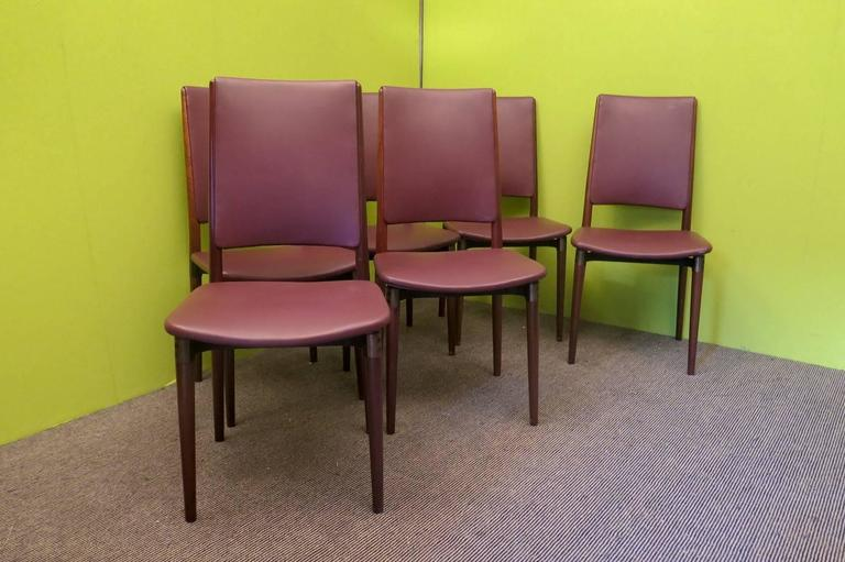 Six Osvaldo Borsani for Tecno Wood and Leather Chairs  For Sale 1