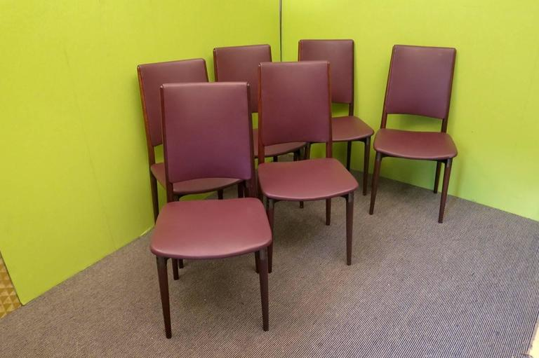 Six Osvaldo Borsani for Tecno Wood and Leather Chairs  For Sale 2