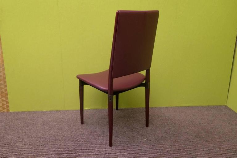 Italian Six Osvaldo Borsani for Tecno Wood and Leather Chairs  For Sale