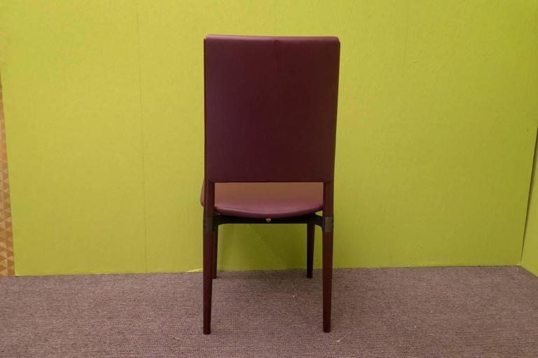 Six Osvaldo Borsani for Tecno Wood and Leather Chairs  In Excellent Condition For Sale In Rome, IT