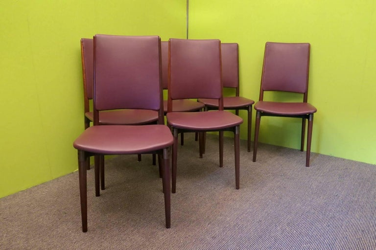 Six Osvaldo Borsani for Tecno Wood and Leather Chairs  For Sale 3