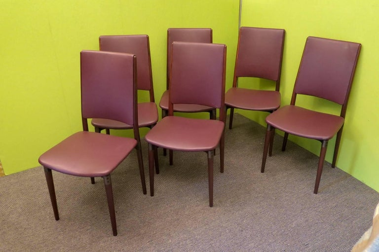 Six Osvaldo Borsani for Tecno Wood and Leather Chairs  For Sale 4