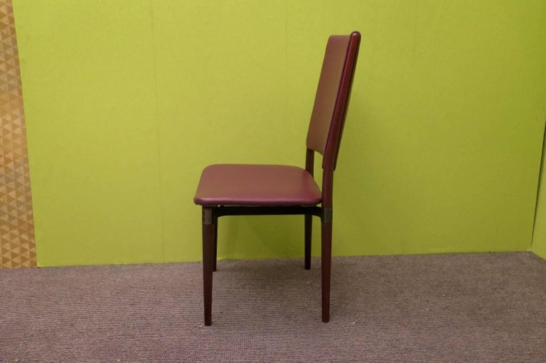 Six Osvaldo Borsani for Tecno Wood and Leather Chairs  For Sale 5