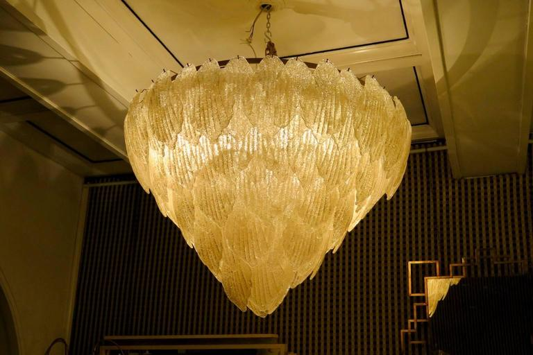 1940 Murano Glass Gold Color Art Deco Italian Chandeliers For Sale 2