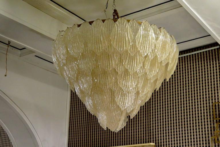 1940 Murano Glass Gold Color Art Deco Italian Chandeliers For Sale 1