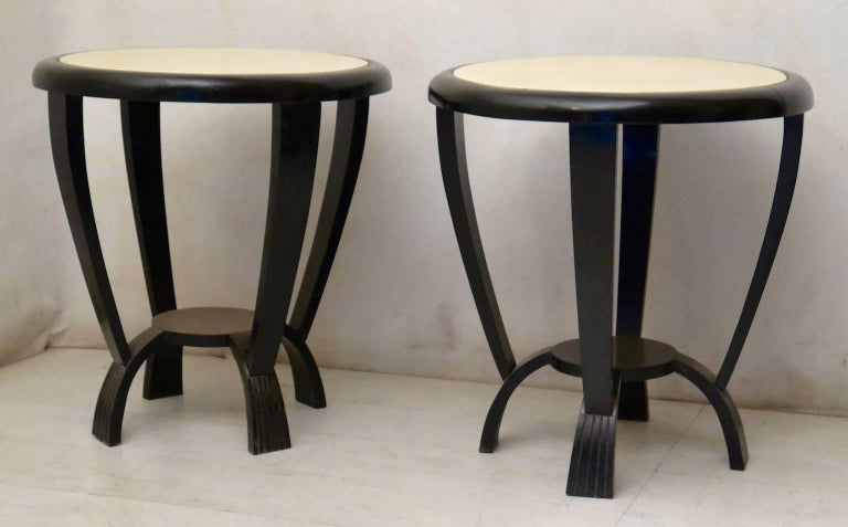 Pair Of 1940s Round Parchment Black And Withe Italian Side