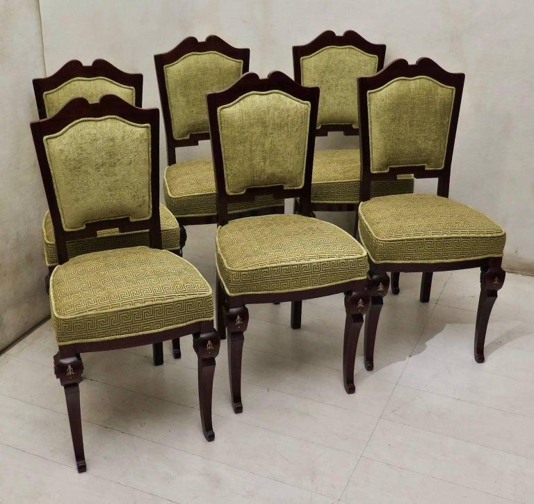 Italian Set of 6 Art Deco Mahogany Wood and Geometric Green Velvet Chairs, 1920 For Sale