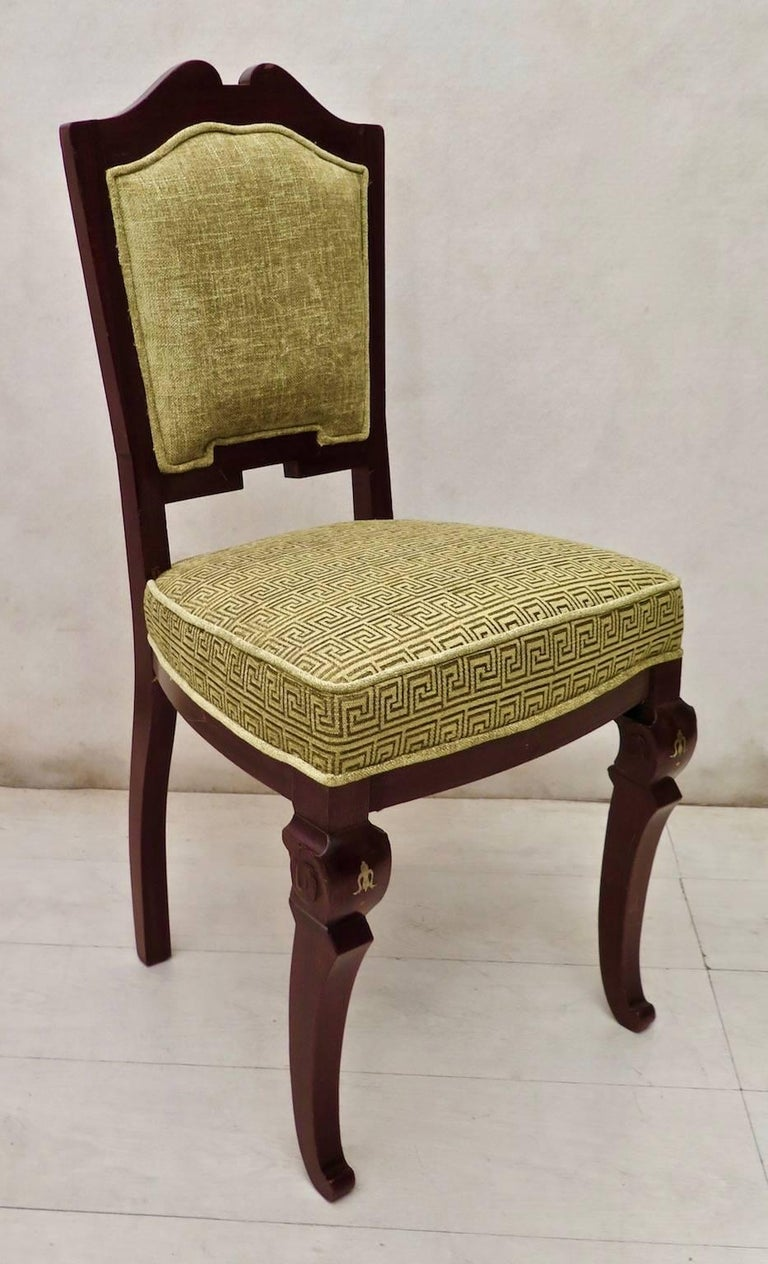 Early 20th Century Set of 6 Art Deco Mahogany Wood and Geometric Green Velvet Chairs, 1920 For Sale