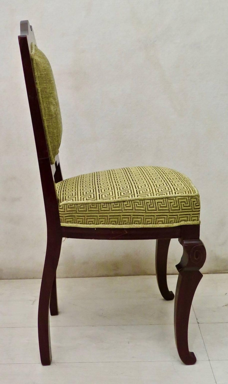 Set of 6 Art Deco Mahogany Wood and Geometric Green Velvet Chairs, 1920 For Sale 5