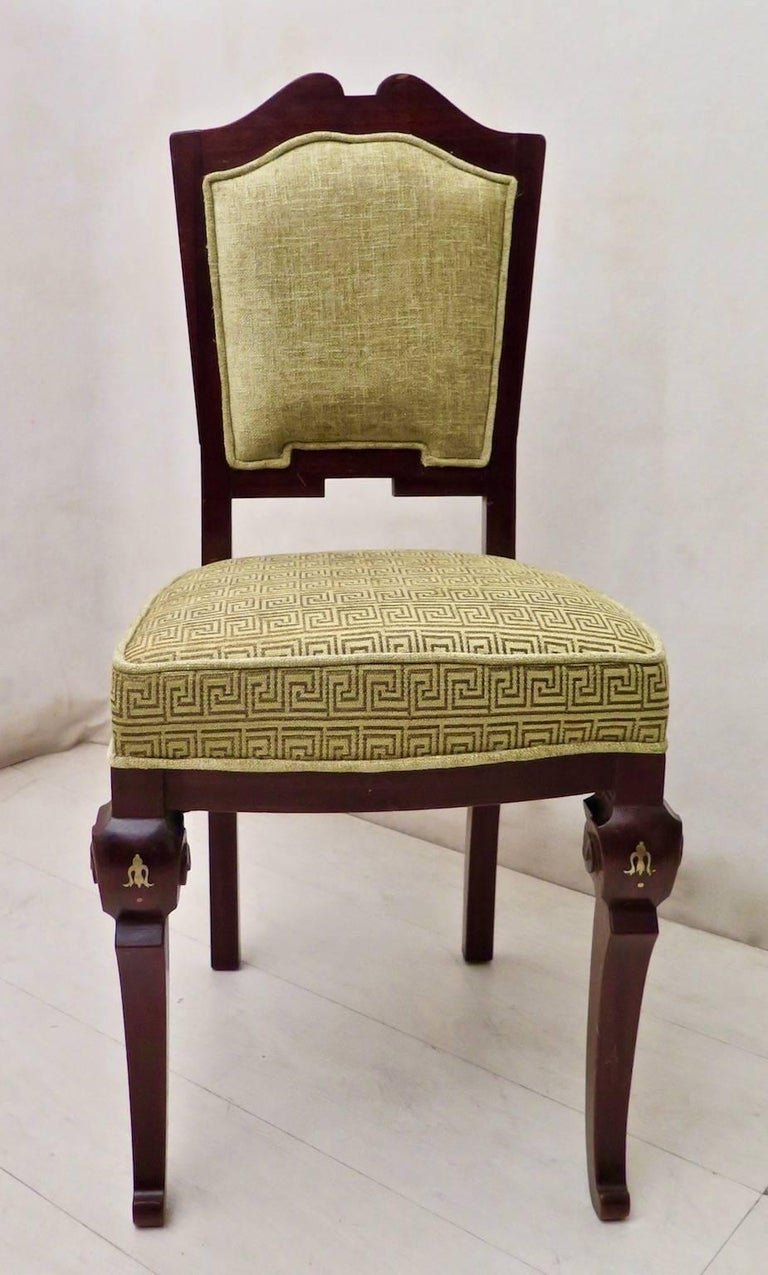 Set of 6 Art Deco Mahogany Wood and Geometric Green Velvet Chairs, 1920 For Sale 2