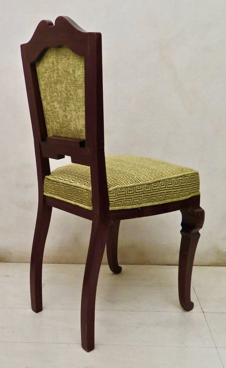 Set of 6 Art Deco Mahogany Wood and Geometric Green Velvet Chairs, 1920 For Sale 3
