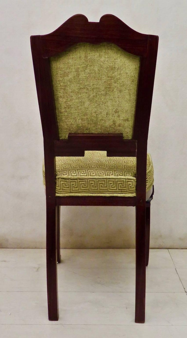 Set of 6 Art Deco Mahogany Wood and Geometric Green Velvet Chairs, 1920 For Sale 6