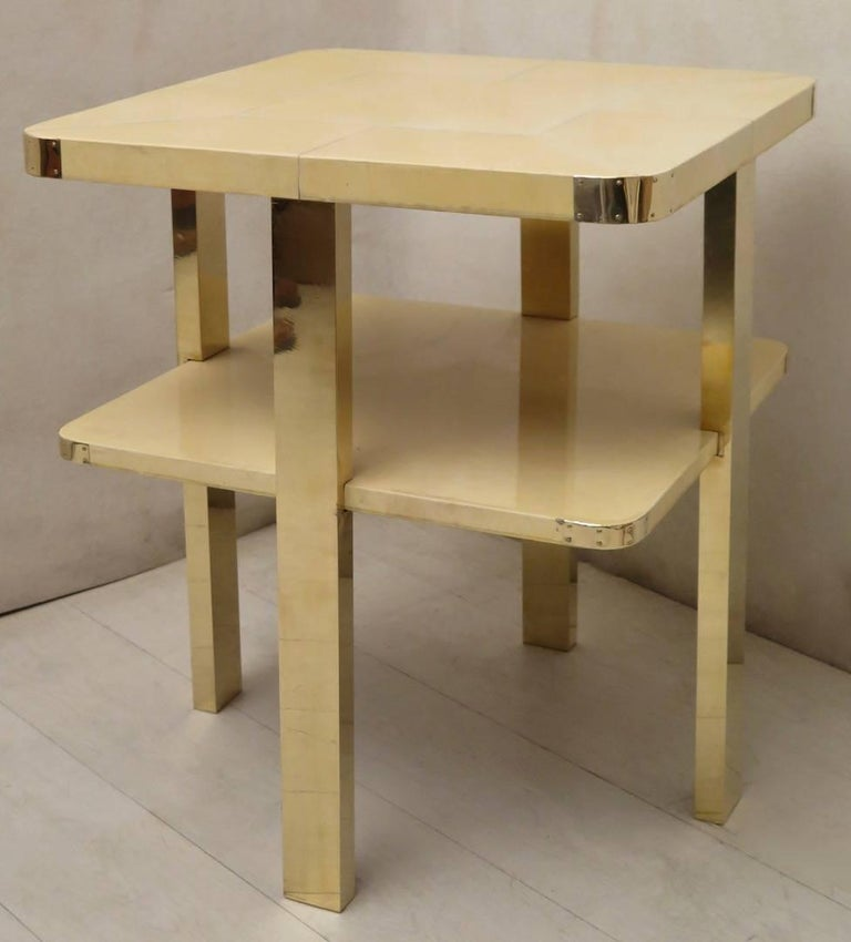 Art Deco Square GoatSkin and Brass Italian Side Table, 1920 For Sale 1