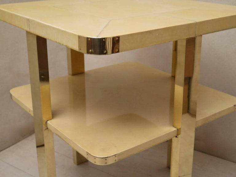 Early 20th Century Art Deco Square GoatSkin and Brass Italian Side Table, 1920 For Sale