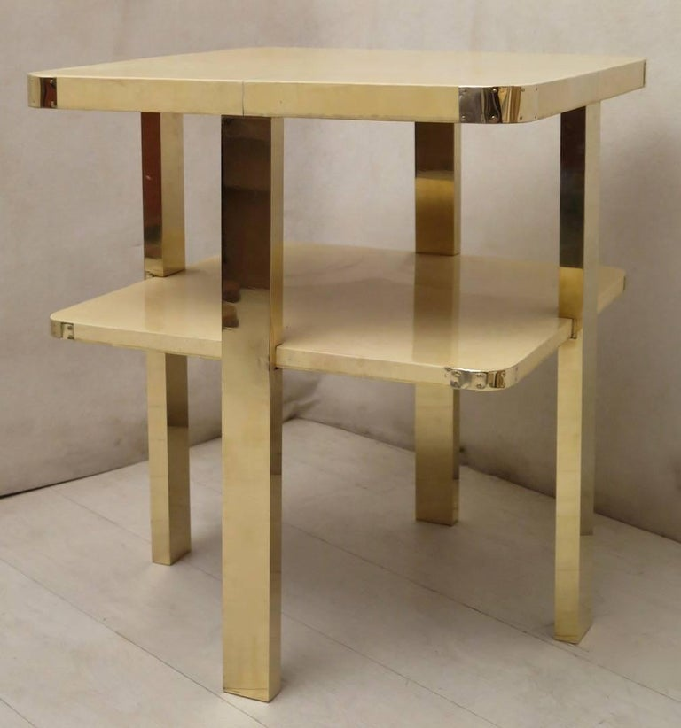 Art Deco Square GoatSkin and Brass Italian Side Table, 1920 For Sale 3