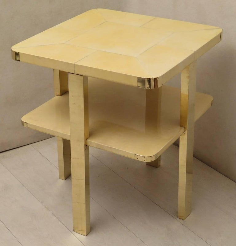 Art Deco Square GoatSkin and Brass Italian Side Table, 1920 For Sale 2