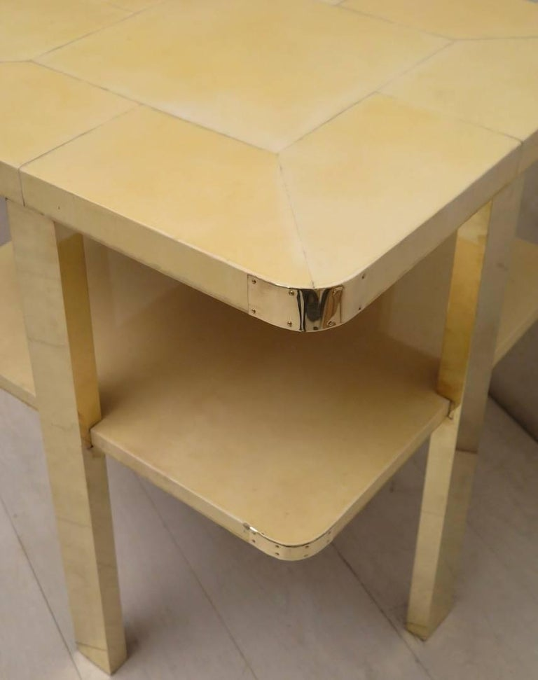 Art Deco Square GoatSkin and Brass Italian Side Table, 1920 For Sale 4