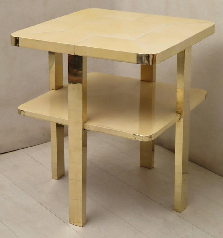 Art Deco Square GoatSkin and Brass Italian Side Table, 1920 For Sale 5