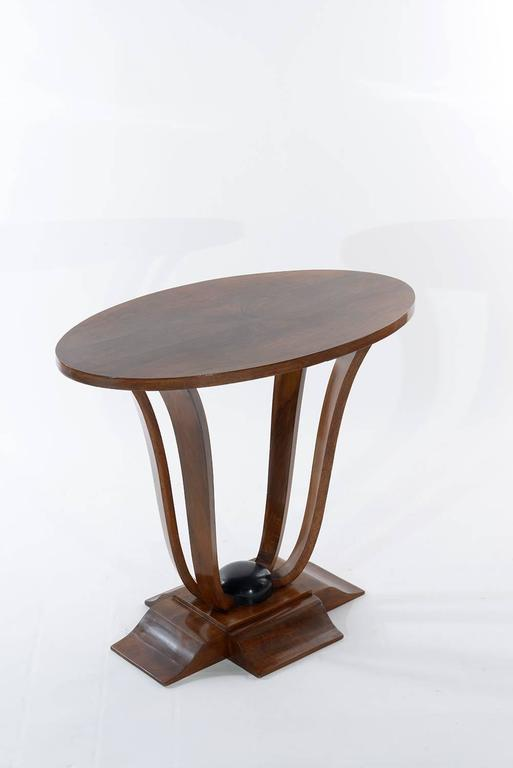 deco walnut oval side table 1930 at 1stdibs