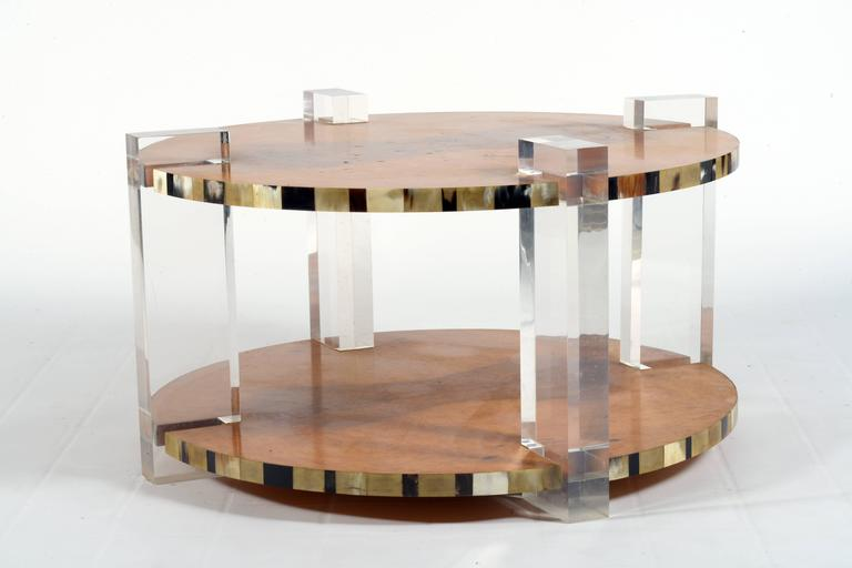 Outstanding High Quality Italian 1960s Round Lucite And Tuja Burl Coffee Table At 1stdibs