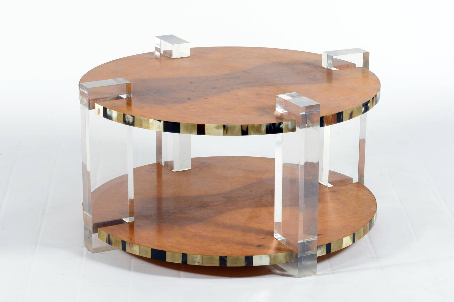 Outstanding High Quality Italian 1960s Round Lucite And Tuja Burl Coffee Table For Sale At 1stdibs