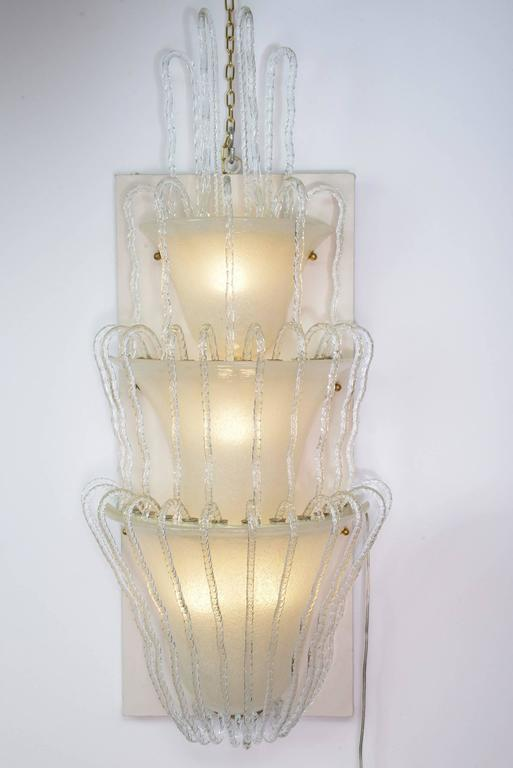Large Glass Wall Lights : Four Big Murano Glass Wall Lights by Barovier, 1930s For Sale at 1stdibs