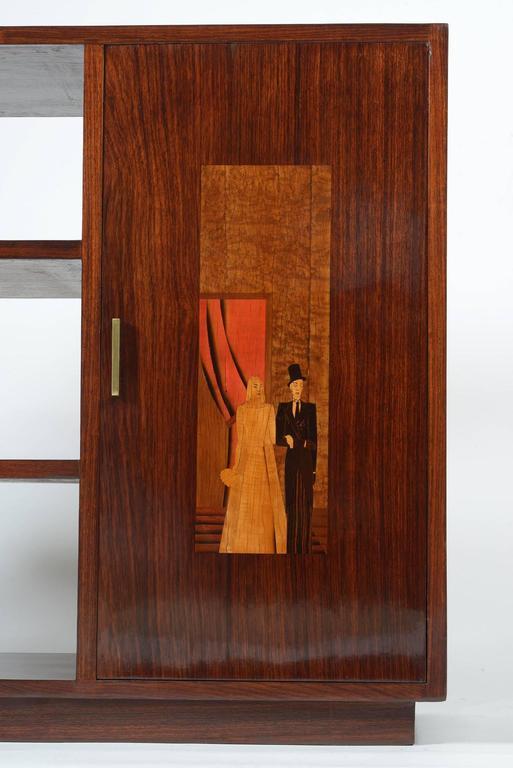 Art Deco Italian Inlaid Center Book Case Table Bar Signed by Regia Scuola d'Arte 8