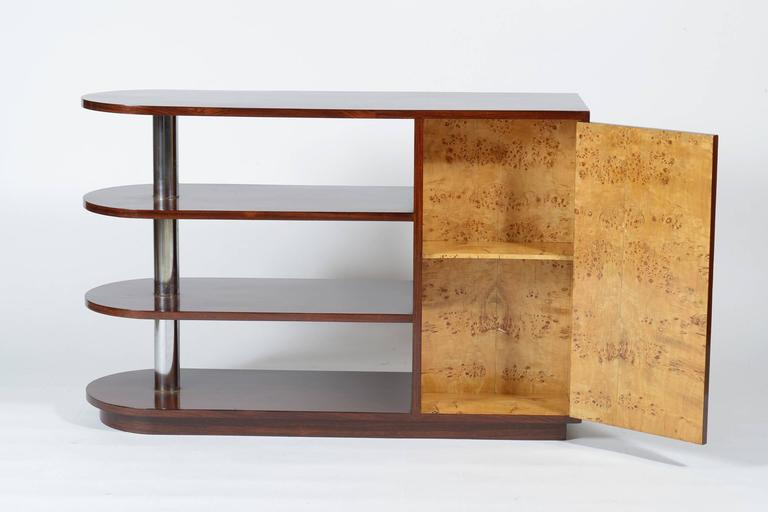 Mid-Century Modern Art Deco Italian Inlaid Center Book Case Table Bar Signed by Regia Scuola d'Arte For Sale