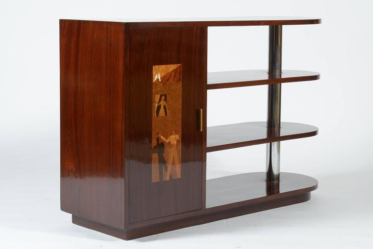 Art Deco Italian Inlaid Center Book Case Table Bar Signed by Regia Scuola d'Arte In Excellent Condition For Sale In Firenze, IT