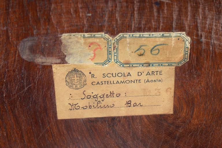 Art Deco Italian Inlaid Center Book Case Table Bar Signed by Regia Scuola d'Arte 10