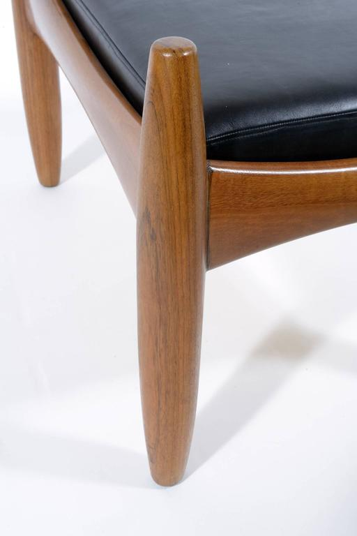 Pair of Mid-Century Italian Solid Teak Wood Stools by Isa For Sale 3