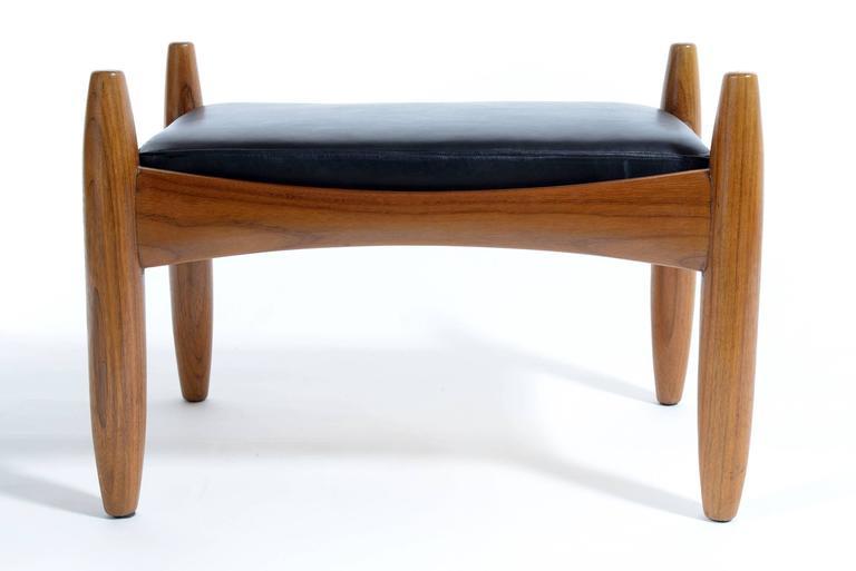 Mid-Century Modern Pair of Mid-Century Italian Solid Teak Wood Stools by Isa For Sale