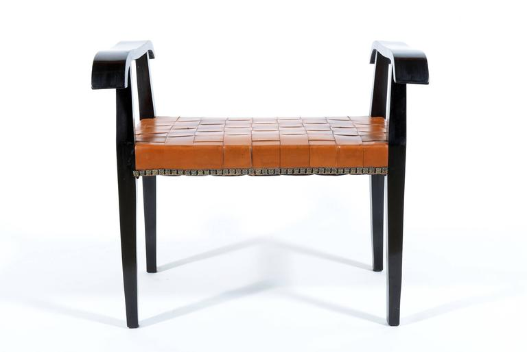 Mid-Century Modern Pair of 1940s Italian Stools with Original Braided Leather Seat For Sale