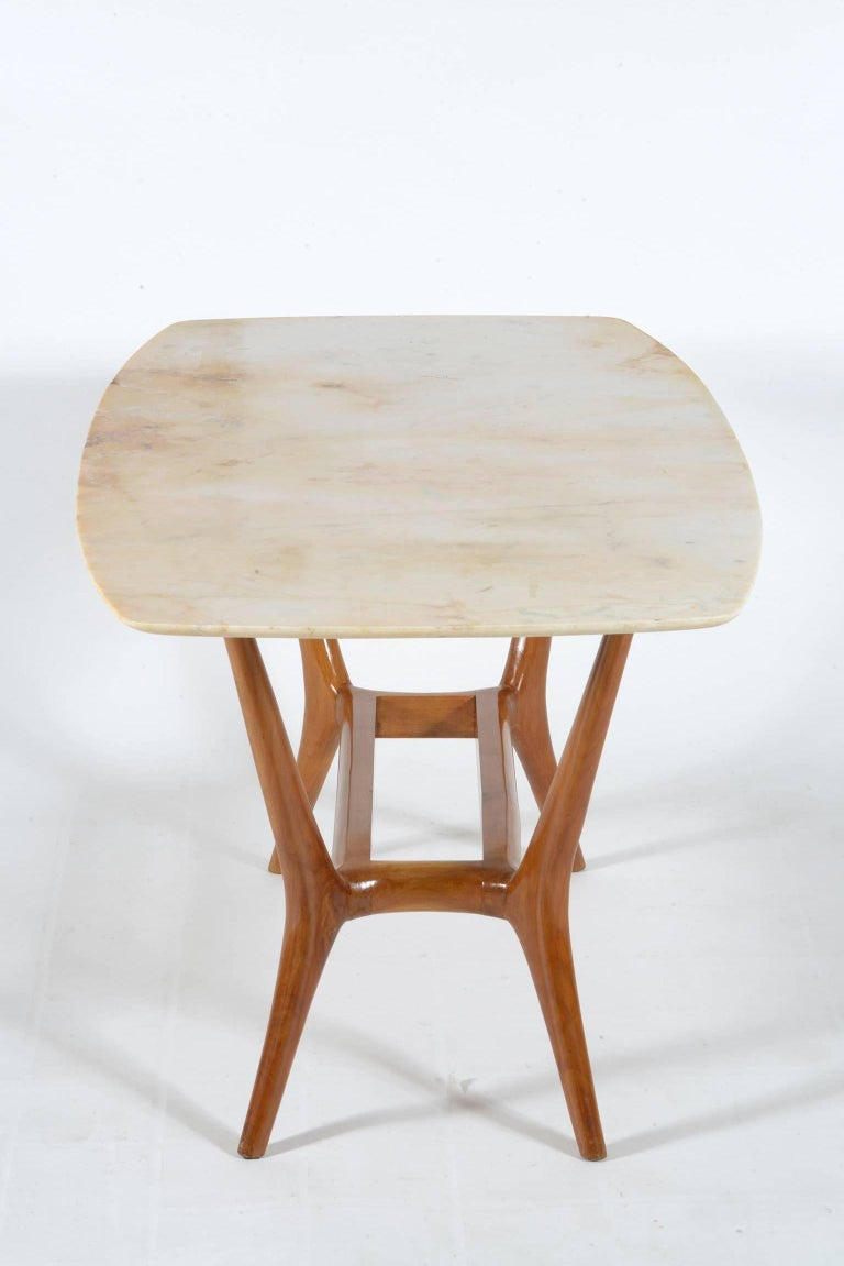 Italian Midcentury Solid Wood And Marble Top Coffee Table For Sale At 1stdibs