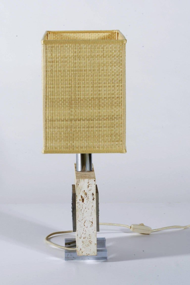 Mid-Century Modern Pair of Midcentury Italian Travertine and Chrome Table Lamps For Sale