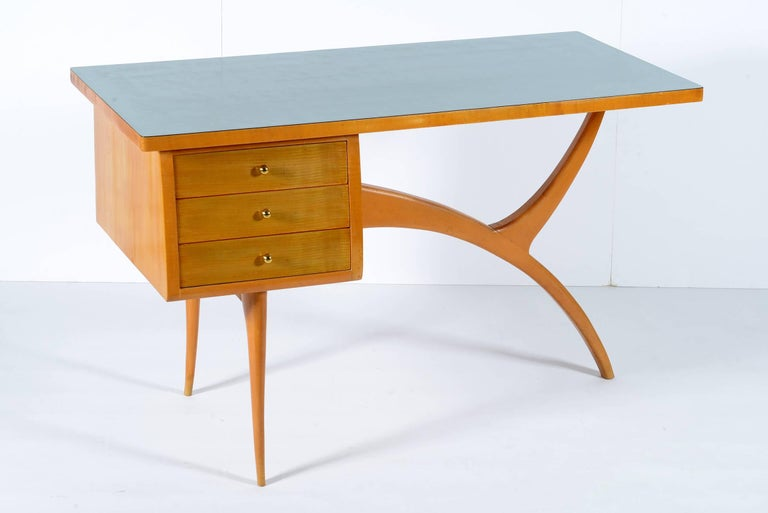 Midcentury Italian Writing Desk With Three Drawers At 1stdibs