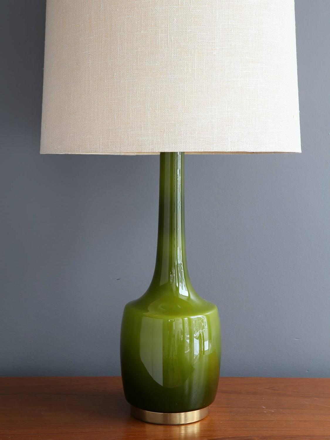 green glass table lamp by holm s rensen and co for sale at 1stdibs. Black Bedroom Furniture Sets. Home Design Ideas