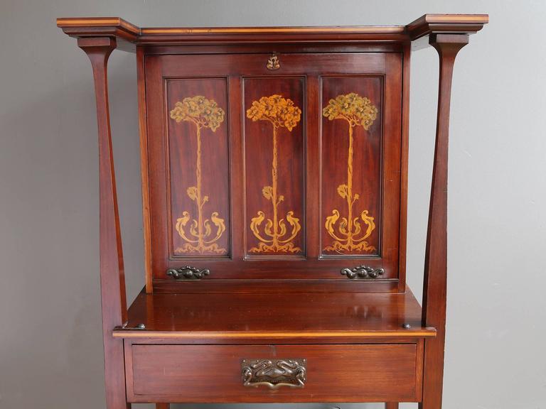 Scottish Art Nouveau Mahogany Secretary Desk At 1stdibs