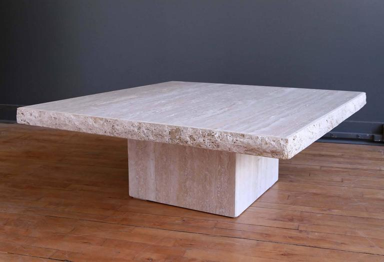 Monumental Roche Bobois Travertine Coffee Table At 1stdibs