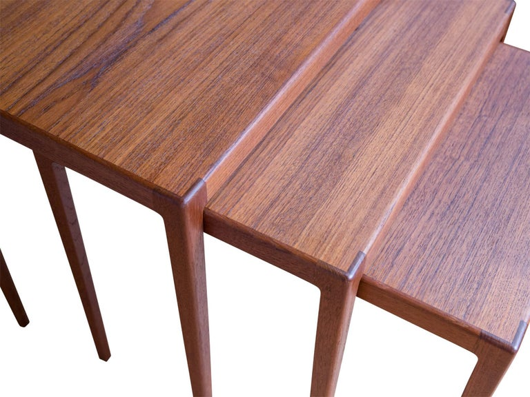 Set of Teak Nesting Tables by Eske Kristensen for Ludwig Pontoppidan ...