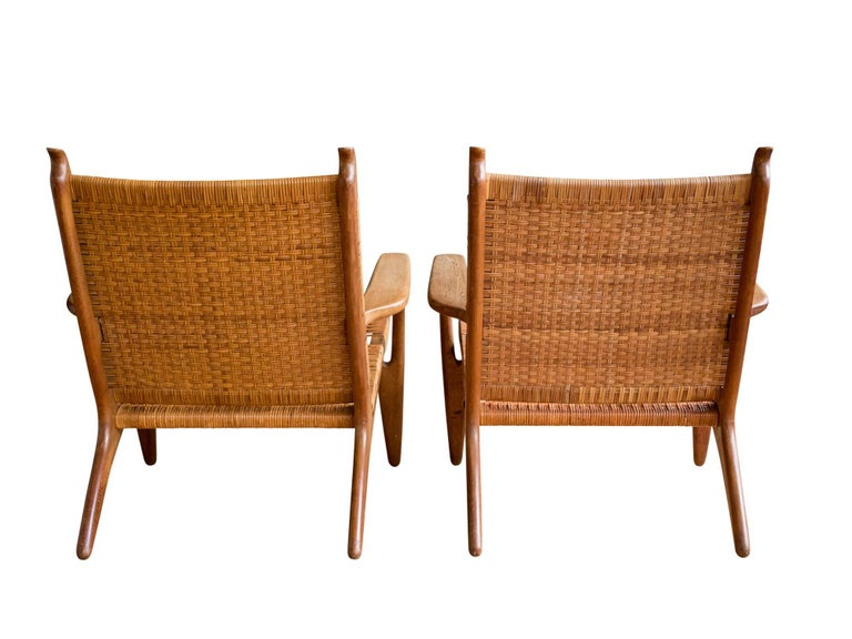 lounge chairs hans wegner. Danish Model CH-27 Oak And Cane Lounge Chairs By Hans J. Wegner For