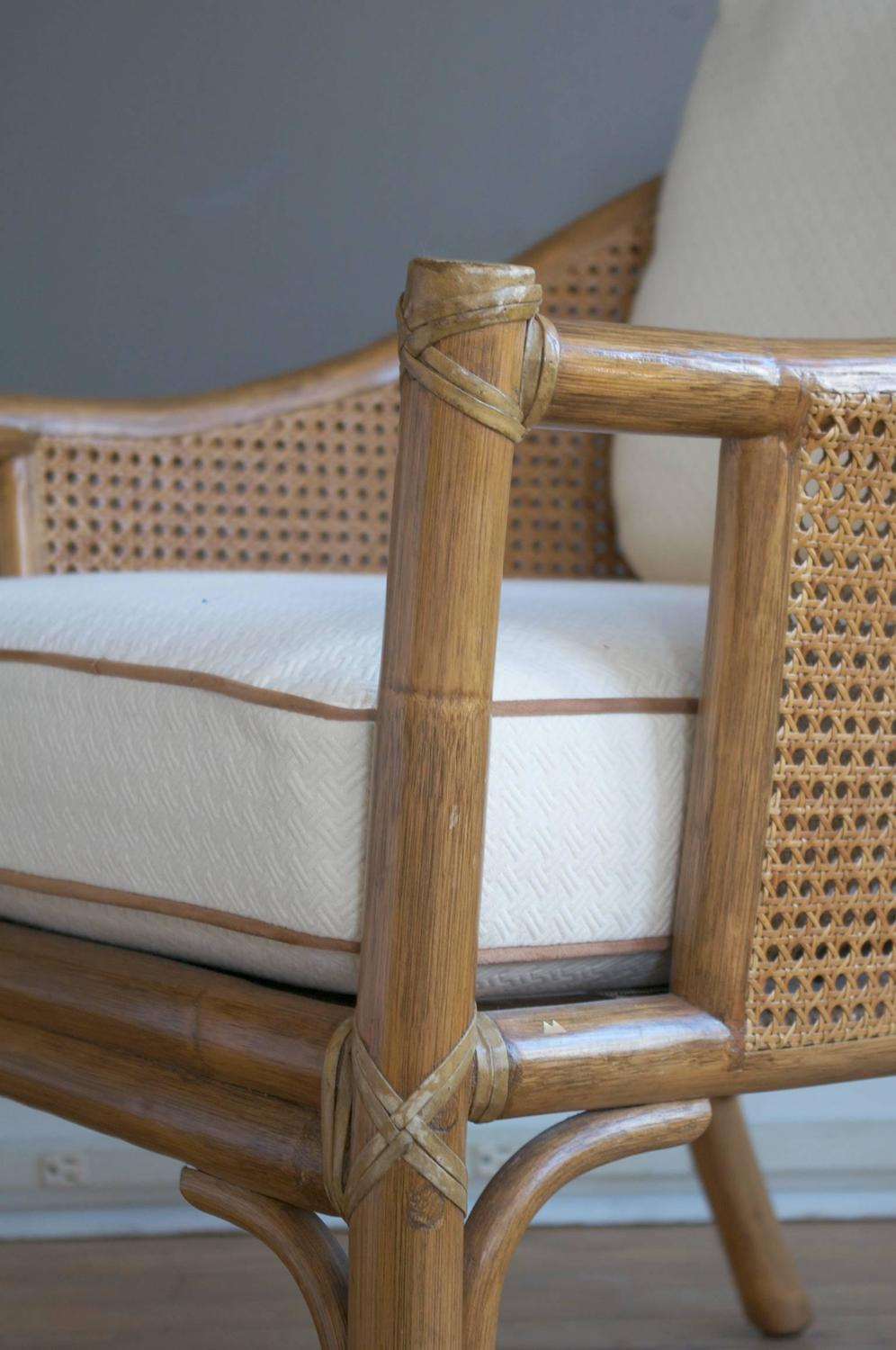 Pair Or Rattan Lounge Chairs And Ottomans By Mcguire At