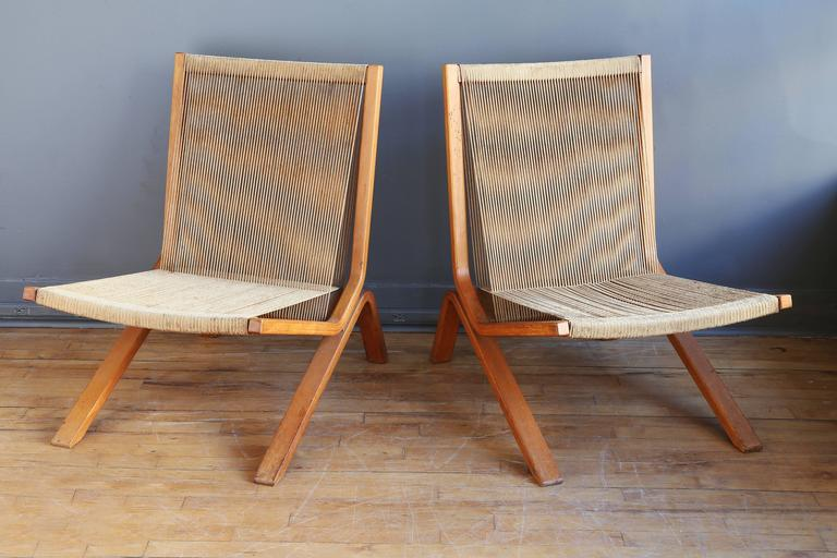 Ordinaire Mid Century Modern Pair Of String Chairs By Allan Gould For Sale